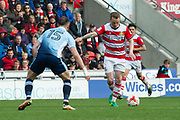 Doncaster Rovers Midfielder Gary McSheffrey (7) lines up ready to shoot at goal during the EFL Sky Bet League 2 match between Doncaster Rovers and Blackpool at the Keepmoat Stadium, Doncaster, England on 17 April 2017. Photo by Craig Zadoroznyj.