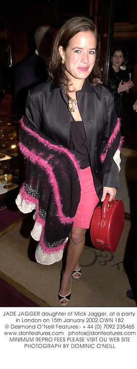 JADE JAGGER daughter of Mick Jagger, at a party in London on 15th January 2002.OWN 182