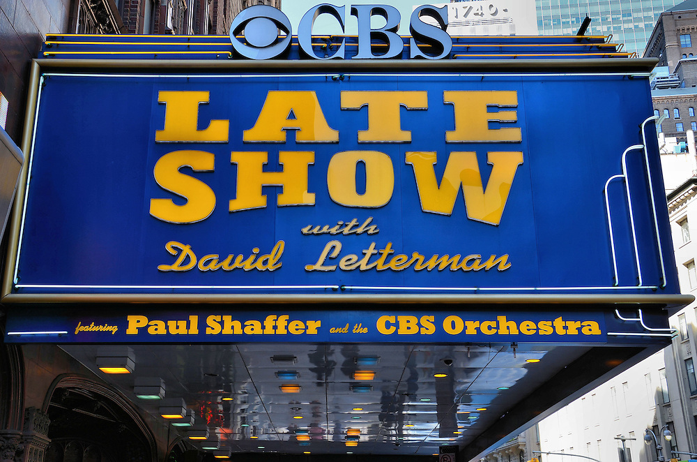 David Letterman Show CBS Marquee in New York City, New York<br /> This &ldquo;Late Show with David Letterman&rdquo; marquee has seen lots of changes since the building opened as a theater in 1927.  It became a CBS studio for live radio shows during the 1950s and later the home of The Ed Sullivan Show where the Beatles made their U.S. debut.  Other talk and game shows were also recorded here.  The David Letterman Show started in 1993 and after his retirement in 2015, The Late Show will continue to be taped at the Ed Sullivan Theater on Broadway in Manhattan.