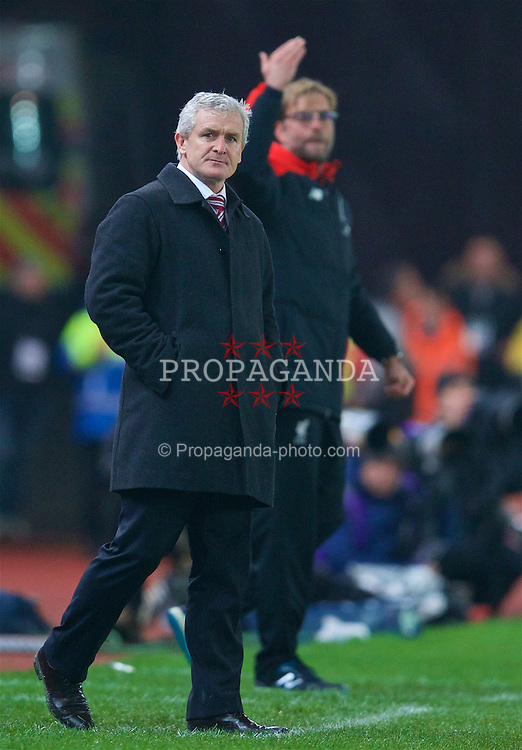 STOKE-ON-TRENT, ENGLAND - Tuesday, January 5, 2016: Stoke City's manager Mark Hughes during the Football League Cup Semi-Final 1st Leg match against Liverpool at the Britannia Stadium. (Pic by David Rawcliffe/Propaganda)