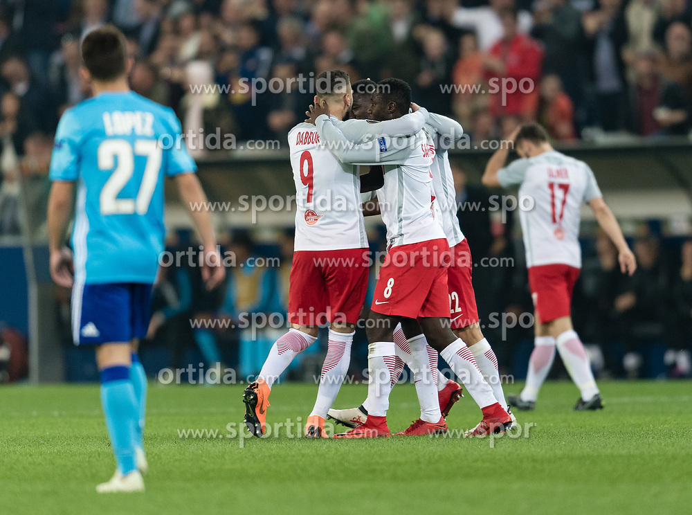 03.05.2018, Red Bull Arena, Salzburg, AUT, UEFA EL, FC Salzburg vs Olympique Marseille, Halbfinale, Rueckspiel, im Bild Torjubel zum 1:0 durch Amadou Haidara (FC Salzburg) // during the UEFA Europa League Semifinal, 2nd Leg Match between FC Salzburg and Olympique Marseille at the Red Bull Arena in Salzburg, Austria on 2018/05/03. EXPA Pictures © 2018, PhotoCredit: EXPA/ Stefan Adelsberger