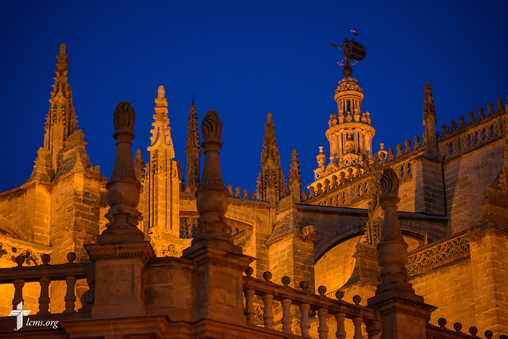 The Seville Cathedral seen at night on Sunday, Nov. 6, 2016, in Seville, Spain.  LCMS Communications/Erik M. Lunsford