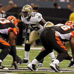 2009 August 14: New Orleans Saints linebacker Jo-Lonn Dunbar (56) lines up for a play during a preseason opener between the Cincinnati Bengals and the New Orleans Saints at the Louisiana Superdome in New Orleans, Louisiana.