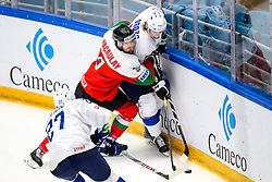 Scott Macaulay of Hungary and Jan Drozg of Slovenia during ice hockey match between Hunngary and Kazakhstan at IIHF World Championship DIV. I Group A Kazakhstan 2019, on May 3, 2019 in Barys Arena, Nur-Sultan, Kazakhstan. Photo by Matic Klansek Velej / Sportida
