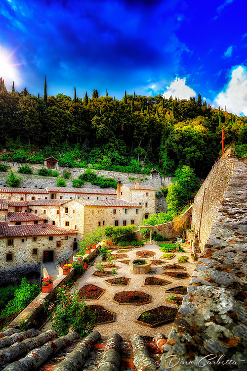 """Sun shines on the Convent of cells - founded by San Francesco in Cortona""...<br />