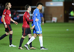 Craig Gardner of West Bromwich Albion consoles Lee Angol of Peterborough United who missed the decisive penalty - Mandatory byline: Joe Dent/JMP - 10/02/2016 - FOOTBALL - ABAX Stadium - Peterborough, England - Peterborough United v West Brom - FA Cup Forth Round Replay
