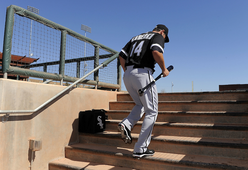 GLENDALE, AZ - FEBRUARY 28:  Paul Konerko #14 of the Chicago White Sox leaves the dugout prior to the game against the Los Angeles Dodgers on February 28, 2011 at The Ballpark at Camelback Ranch in Glendale, Arizona. The Dodgers defeated the White Sox 6-5.  (Photo by Ron Vesely)