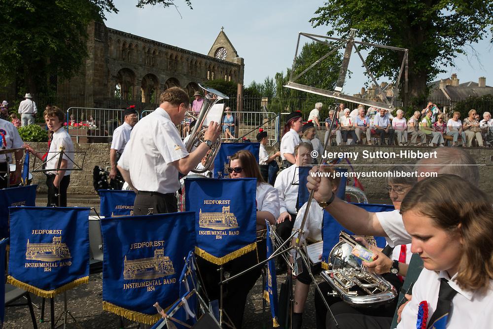 Jethart Callant's Festival, in Jedburgh,  Scotland, Friday 12th July 2013. With Callant Garry Ramsay, Right Hand man Iain Chisholm, Left Hand Man Ryan Miller, and Herald Allan Learmonth.<br /> N55&deg;28.629'<br /> W2&deg;33.264'