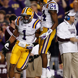 November 10, 2012; Baton Rouge, LA, USA; LSU Tigers safety Eric Reid (1) and cornerback Tharold Simon (24) react after a defensive stop against the Mississippi State Bulldogs  during the second half of a game at Tiger Stadium.  LSU defeated Mississippi State 37-17. Mandatory Credit: Derick E. Hingle-US PRESSWIRE