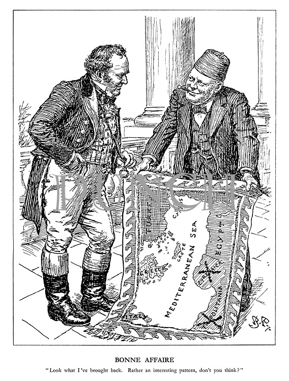 """Bonne Affaire. """"look what I've brought back. Rather an interesting pattern, don't you think?"""" (Churchill shows John Bull his souvenirs with a new wall hanging map of the Mediterranean Sea crossing out Tripolitania and Cyrenaica)"""