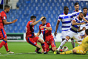 Niall Canavan, Ian Henderson, Sandro, Matt Ingram during the EFL Cup match between Queens Park Rangers and Rochdale at the Loftus Road Stadium, London, England on 23 August 2016. Photo by Daniel Youngs.