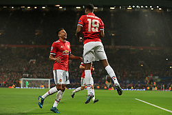 12th September 2017 - UEFA Champions League - Group A - Manchester United v FC Basel - Marcus Rashford of Man Utd (R) celebrates with teammate Jesse Lingard after scoring their 3rd goal - Photo: Simon Stacpoole / Offside.