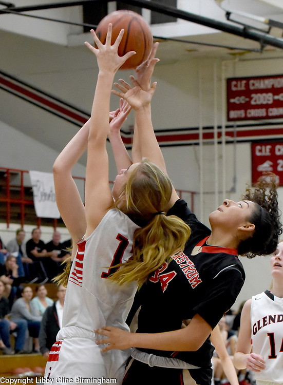 Glendora's Kyra Zovak (12) fights for the rebound in the first half of a second round CIF girls basketball game against Segerstrom  at Glendora High School in Glendora, Calif., on Saturday, Feb. 17, 2018. (Photo by Libby Cline Birmingham)