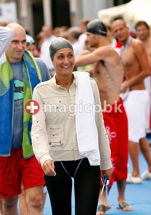 Winner Sophie Kamoun of France on her way to the start in the Omega Trophy for Journalists at the 28th LEN European Swimming Championships in Budapest, Hungary, Saturday, August 5, 2006. (Photo by Patrick B. Kraemer / MAGICPBK for Omega)