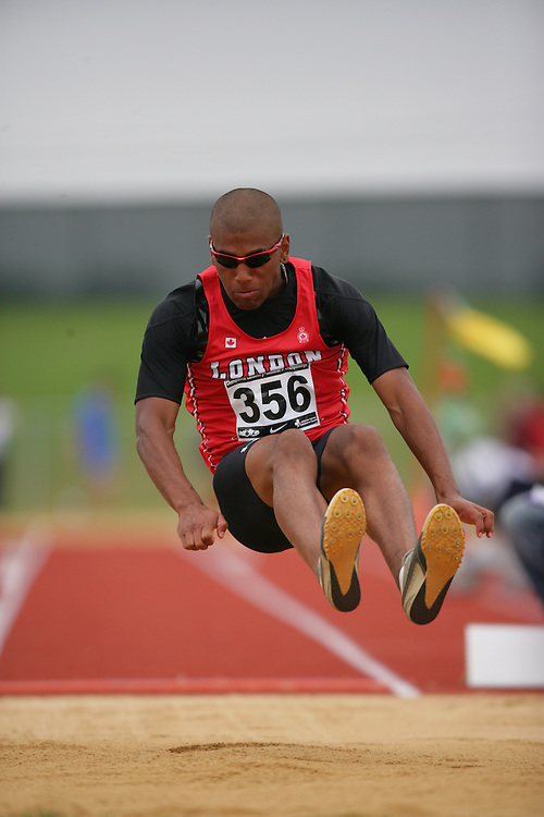 (Charlottetown, Prince Edward Island -- 20090718) Taylor Stewart of London Legion Track & Fie competes in the long jump final at the 2009 Canadian Junior Track & Field Championships at UPEI Alumni Canada Games Place on the campus of the University of Prince Edward Island, July 17-19, 2009.  Geoff Robins / Mundo Sport Images ..Mundo Sport Images has been contracted by Athletics Canada to provide images to the media.
