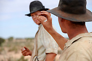 Actors Luke Ford (Snowy Rowles) with Oliver Wenn (Louis Carron) - 'Blood In The Sand' - on location CUE  Western Australia - Still photograph by David Dare Parker