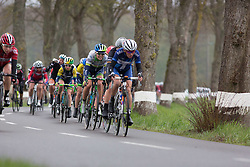 Tayler Wiles (USA) of Orica-AIS Cycling Team stays near the front to look after Annemiek van Vleuten (NED) in the yellow jersey the first, 106.9km road race stage of Elsy Jacobs - a stage race in Luxembourg, in Steinfort on April 30, 2016