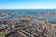 Nederland, Noord-Holland, IJmuiden, 11-12-2013; overzichtsfoto IJmuiden, richting sluizencomplex, Noordzeekanaal en Tata Steel (voorheen Corus, Hoogovens. Noordzee in de achtergrond.<br /> Overview w. entrance  Noorzee-channel with locks and Tata Steel.<br /> luchtfoto (toeslag op standaard tarieven);<br /> aerial photo (additional fee required);<br /> copyright foto/photo Siebe Swart.
