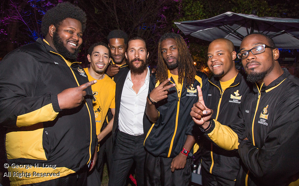 Members of the X-factor drumline of Xavier University with Matthew McConaughey at the New Orleans Film Society Gala at the home of Paul and Sara Costello on March 28, 2015; Photo: GeorgeLong.com