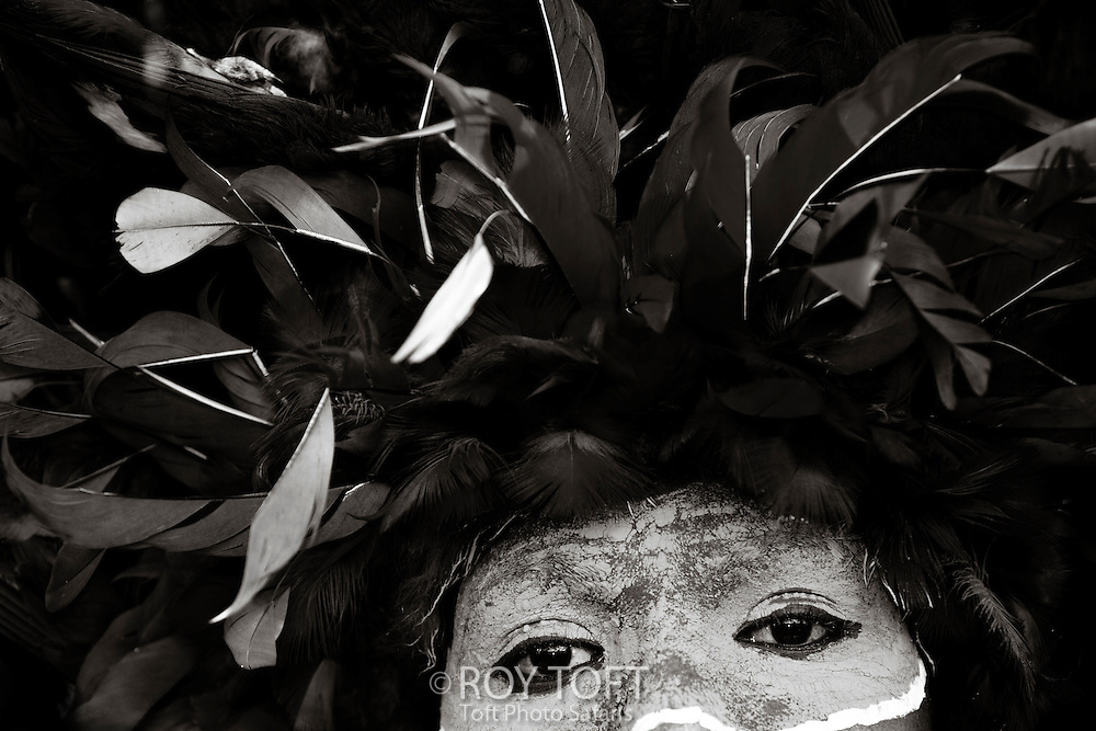 Close-up view of a Morobe SingSing dancer, Papua New Guinea