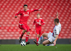 LIVERPOOL, ENGLAND - Saturday, January 8, 2011: Liverpool's Krisztian Adorjan in action against Crystal Palace during the FA Youth Cup 4th Round match at Anfield. (Pic by: David Rawcliffe/Propaganda)