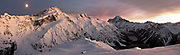 Panoramic view of Mount Cook, Aoraki in winter at sunrise. Snow covered Mueller hut in foreground. Canterbury, New Zealand