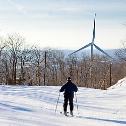 The wind turbine at Jiminy Peak ski resort in the Berkshire Mountains in Hancock, Massachusetts.