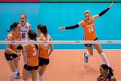 18-05-2016 JAP: OKT Nederland - Dominicaanse Republiek, Tokio<br /> Nederland is weer een stap dichterbij kwalificatie voor de Olympische Spelen. Dit dankzij een 3-0 overwinning op de Dominicaanse Republiek / Lonneke Sloetjes #10, Debby Stam-Pilon #16, Laura Dijkema #14
