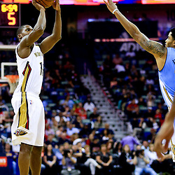 Mar 31, 2016; New Orleans, LA, USA; New Orleans Pelicans guard Toney Douglas (16) shoots against the Denver Nuggets during the second half of a game at the Smoothie King Center. The Pelicans defeated the Nuggets 101-95. Mandatory Credit: Derick E. Hingle-USA TODAY Sports