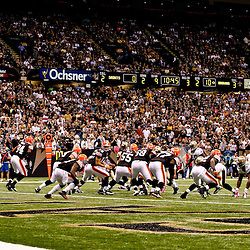 Oct 24, 2010; New Orleans, LA, USA; Cleveland Browns quarterback Colt McCoy (12) looks to hand off during the first half against the New Orleans Saints at the Louisiana Superdome. Mandatory Credit: Derick E. Hingle