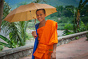 Buddhist boy monk in orange robe under umbrella in Luang Prabang (Laos)