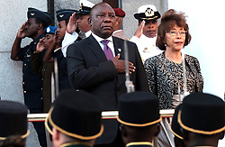 Cape Town. 160218.  Newly elected President of the Republic of South Africa Cyril Ramaphosa with his wife Tshepo by his side take the sulute during a SADF flypast at this year's State of the Nation address.  Picture:Ian Landsberg/ANA