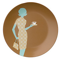 brown plate with blue and brown patterned 60s style woman holding a handbag and a coffee