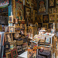 Gilded religious souvenirs on display at the Indian Market in the Miraflores neighborhood of Lima, Peru.
