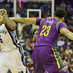 Feb 1, 2016; New Orleans, LA, USA; Memphis Grizzlies guard Mario Chalmers (6) is defended by New Orleans Pelicans forward Anthony Davis (23) during the second quarter of a game at the Smoothie King Center. Mandatory Credit: Derick E. Hingle-USA TODAY Sports