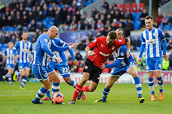 Cardiff Defender Cala (ESP) is challenged by Wigan Defender Ivan Ramis (ESP) - Photo mandatory by-line: Rogan Thomson/JMP - 07966 386802 - 15/02/2014 - SPORT - FOOTBALL - Cardiff City Stadium - Cardiff City v Wigan Athletic - The FA Cup Fifth Round Proper.