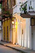 Colonial street, Cartagena de Indias, Bolivar Department,, Colombia, South America.