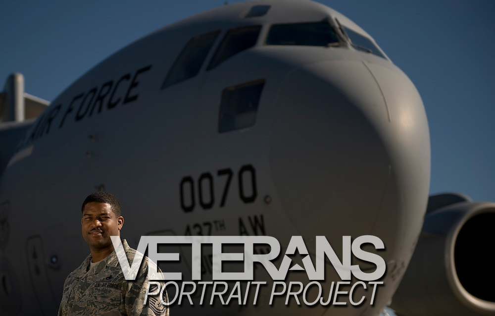Senior Master Sgt. Phillip Easton stands near a C-17 Globemaster aircraft under maintenance by the 315th Aircraft Maintenance at Charleston Charleston Air Force Base, S.C., on Oct. 30, 2008.