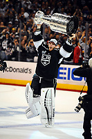 Ishockey , 13 June 2014 Los Angeles Kings Goalie Jonathan Quick 32  Skates with The Stanley Cup during The Post Game Celebration of The Stanley Cup Final between The New York Rangers and The Los Angeles Kings AT Staples Center in Los Angeles Approx The Kings defeated The Rangers 3 2 to Win The Stanley Cup NHL Ice hockey men USA Jun 13 Stanley Cup Final Rangers AT Kings Game 5 <br />