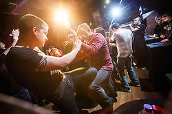 The seminar continues. IKMS 'In The Club' seminar with KMG Global Team Instructor and Expert Level 5, Tommy Blom, at the Buff Club in Glasgow's City Centre. Bringing Krav Maga training out with the confines of the gym into a real nightclub/bar.<br /> © Michael Schofield.
