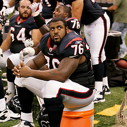 August 21, 2010; New Orleans, LA, USA; Houston Texans offensive tackle Duane Brown (76) on the bench during a 38-20 win by the New Orleans Saints over the Houston Texans during a preseason game at the Louisiana Superdome. Mandatory Credit: Derick E. Hingle