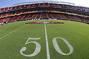 The 50 yard line marker is painted on the field in this general view photograph of Levi's Stadium taken before the San Francisco 49ers 2017 NFL week 1 regular season football game against the Carolina Panthers, Sunday, Sept. 10, 2017 in Santa Clara, Calif. The Panthers won the game 23-3. (©Paul Anthony Spinelli)