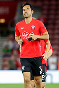 Southampton defender Maya Yoshida (3) in warm up during the Premier League match between Southampton and Brighton and Hove Albion at the St Mary's Stadium, Southampton, England on 17 September 2018.