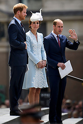© Licensed to London News Pictures. 10/06/2016. London, UK. CATHERINE DUCHESS OF CAMBRIDGE, PRINCE HARRY and PRINCE WILLIAM leave a service of thanksgiving to mark the 90th birthday of Queen Elizabeth II, held at St Paul's Cathedral in London. Photo credit: Ben Cawthra/LNP