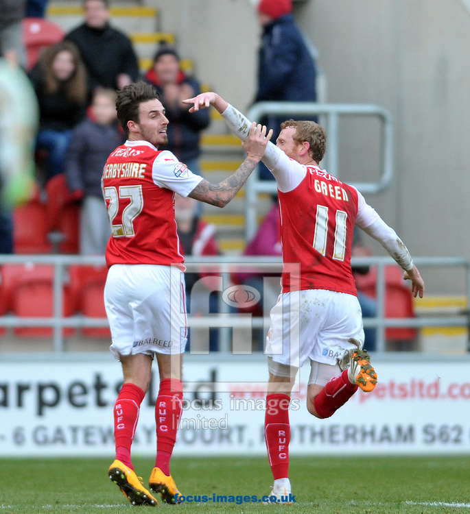 Matt Derbyshire (left) of Rotherham United celebrates his goal against Ipswich Town during the Sky Bet Championship match at the New York Stadium, Rotherham<br /> Picture by Graham Crowther/Focus Images Ltd +44 7763 140036<br /> 07/02/2015