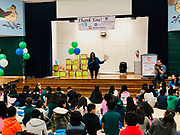 Interim Superintendent Grenita Lathan speaks to Students at HISD's Browning Elementary School who received six new books as part of the Barbara Bush Houston Literacy Foundation's My Home Library program, which aims to build home libraries for economically disadvantaged children