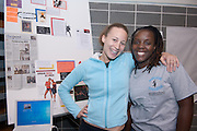 18208Student Reasearch & Creativity Activity Fair Spring 2007..Angela Patmon(left) & Shantelle Jackson show research from a conference of The International Association of Blacks in Dance
