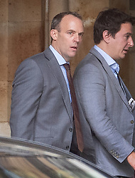 © Licensed to London News Pictures. 19/06/2019. London, UK. Former Conservative Party leadership candidate Dominic Raab walks in Parliament. Boris Johnson has cemented his position as favourite to become the next Prime Minster after winning a clear majority in the second round of the conservative party's leadership race. Photo credit: Peter Macdiarmid/LNP