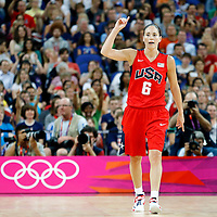 09 August 2012: USA Sue Bird celebrates the win at the end of the 86-73 Team USA victory over Team Australia, during the women's basketball semi-finals, at the 02 Arena, in London, Great Britain.