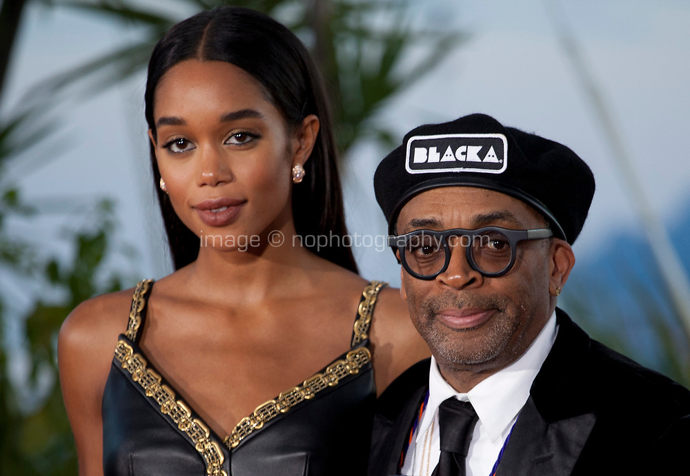 Actress Laura Harrier and Director Spike Lee, winner of the Grand Prix award for the film BlacKkKlansman at the Award Winner's photo call at the 71st Cannes Film Festival, Saturday 19th May 2018, Cannes, France. Photo credit: Doreen Kennedy